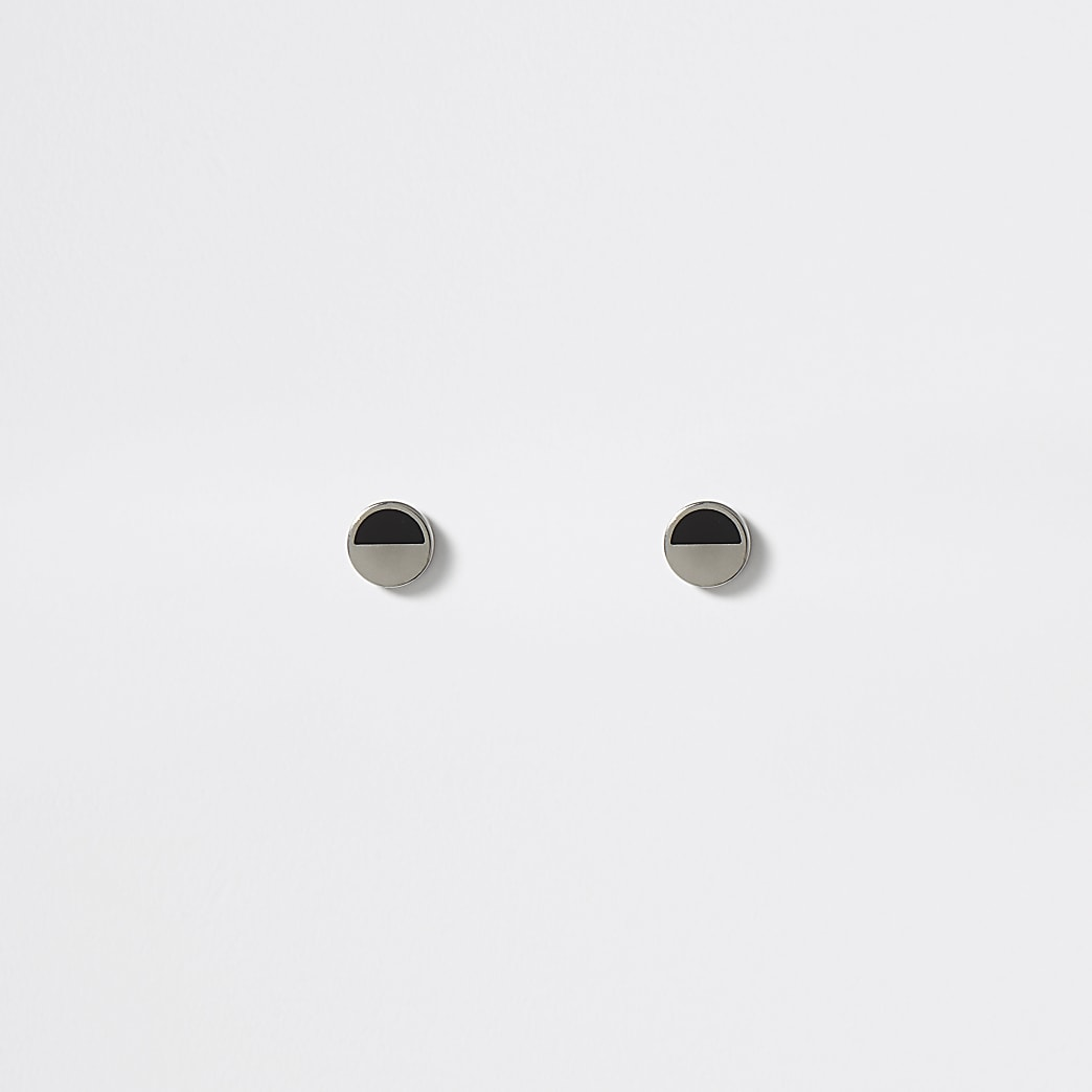 Silver colour black print ear tunnel earrings