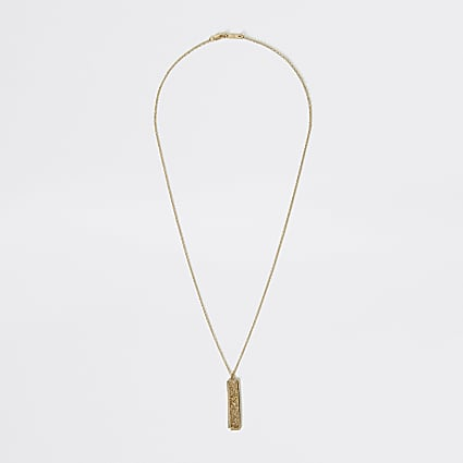 Gold colour textured stick pendant necklace