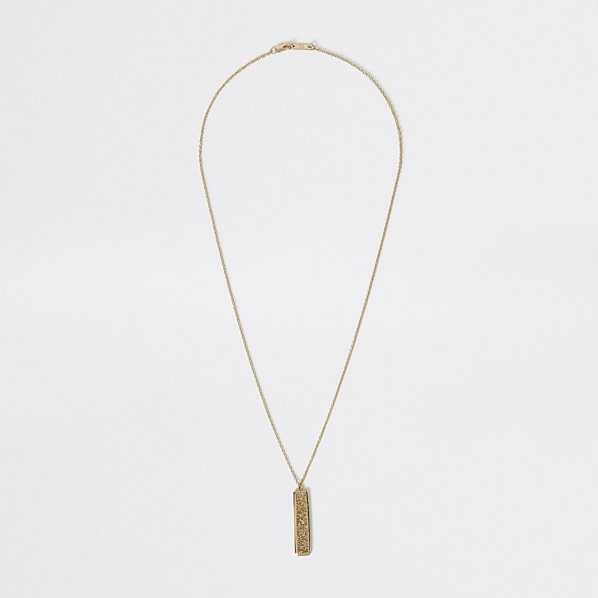 Gold colour textured stick pendant necklace