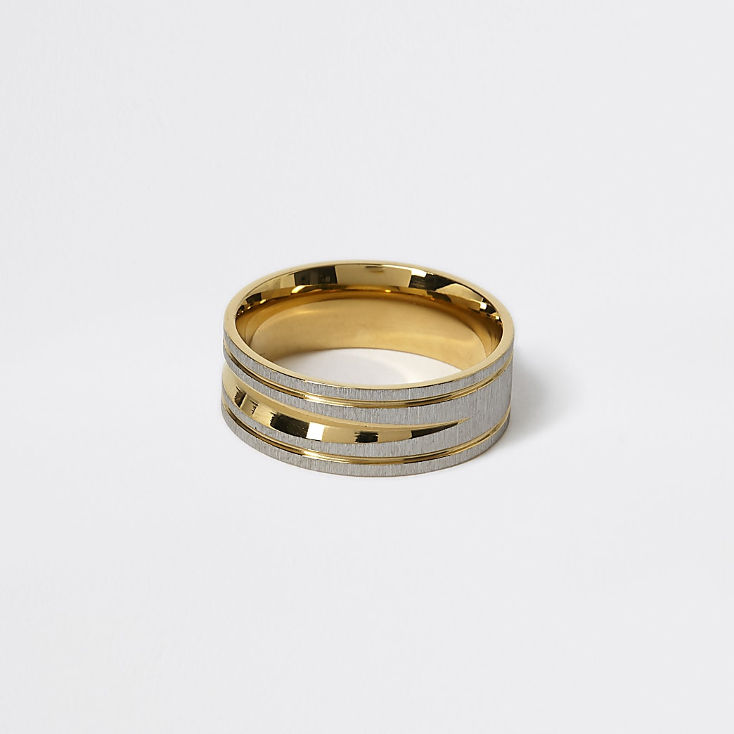 Gold and silver colour textured ring