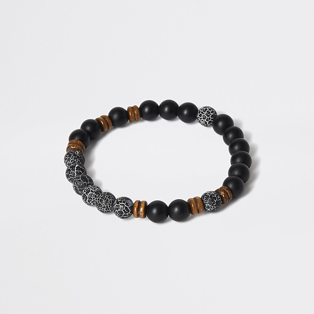 Black stone and wood beaded bracelet