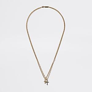 Collier multirangs doré avec croix en strass
