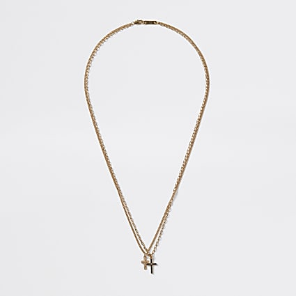 Gold colour diamante cross layered necklace