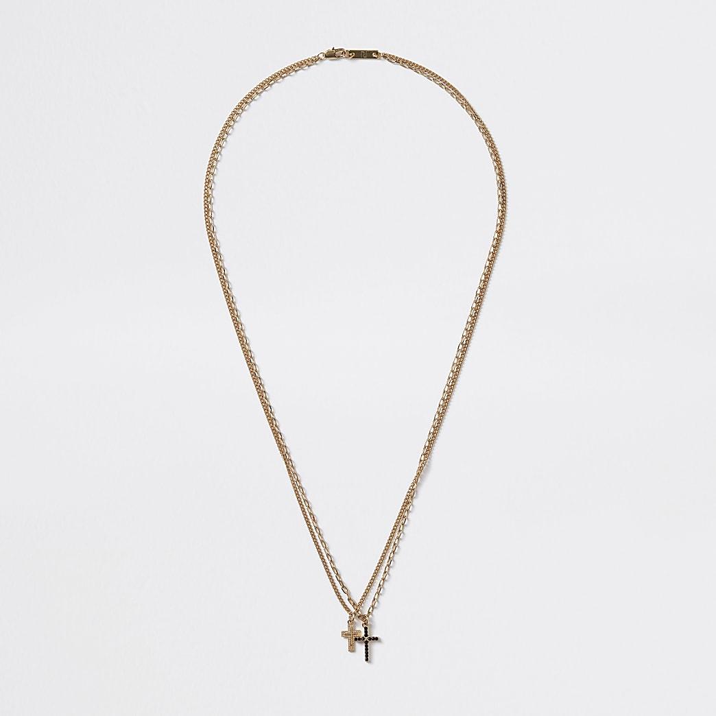 Goudkleurige gelaagde ketting met kruis met siersteentjes