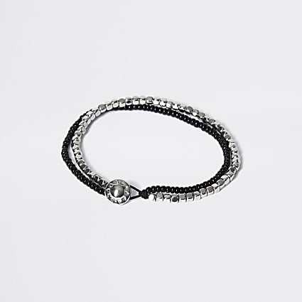 Black and silver beaded layered bracelet
