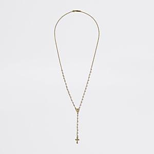 Goldfarbene Halskette mit Rosenkranz