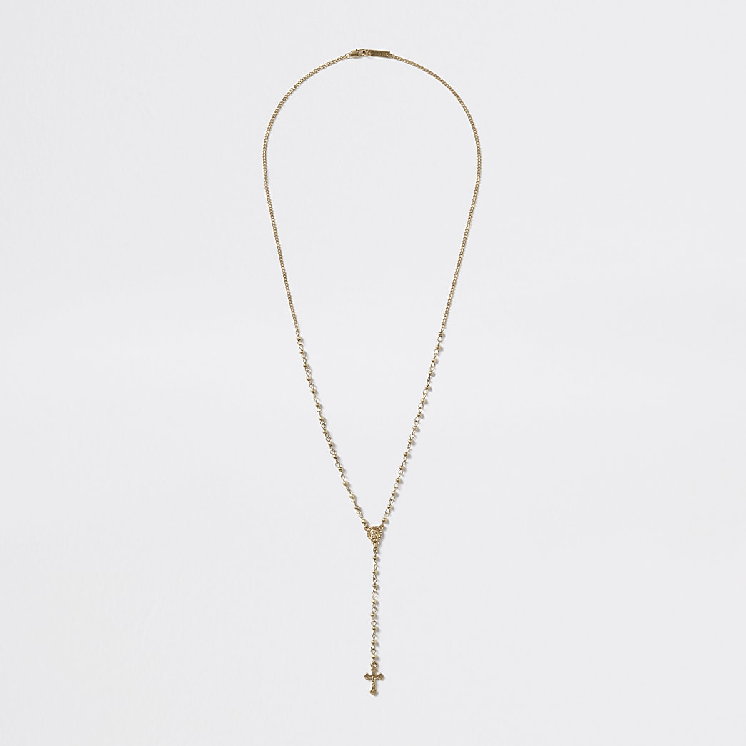 Gold colour rosary necklace