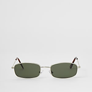 Silberne, rechteckige Mini-Sonnenbrille