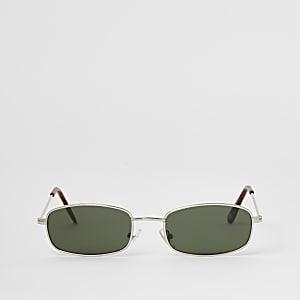 Zilverkleurige rechthoekige mini-zonnebril