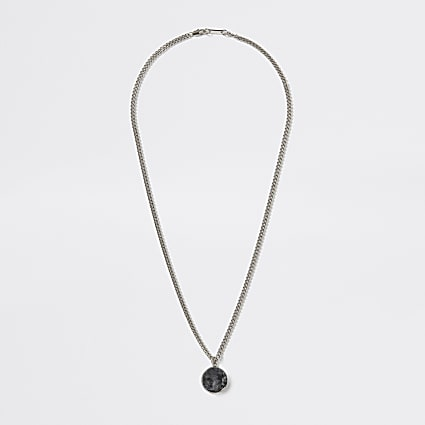 Silver colour stone charm necklace