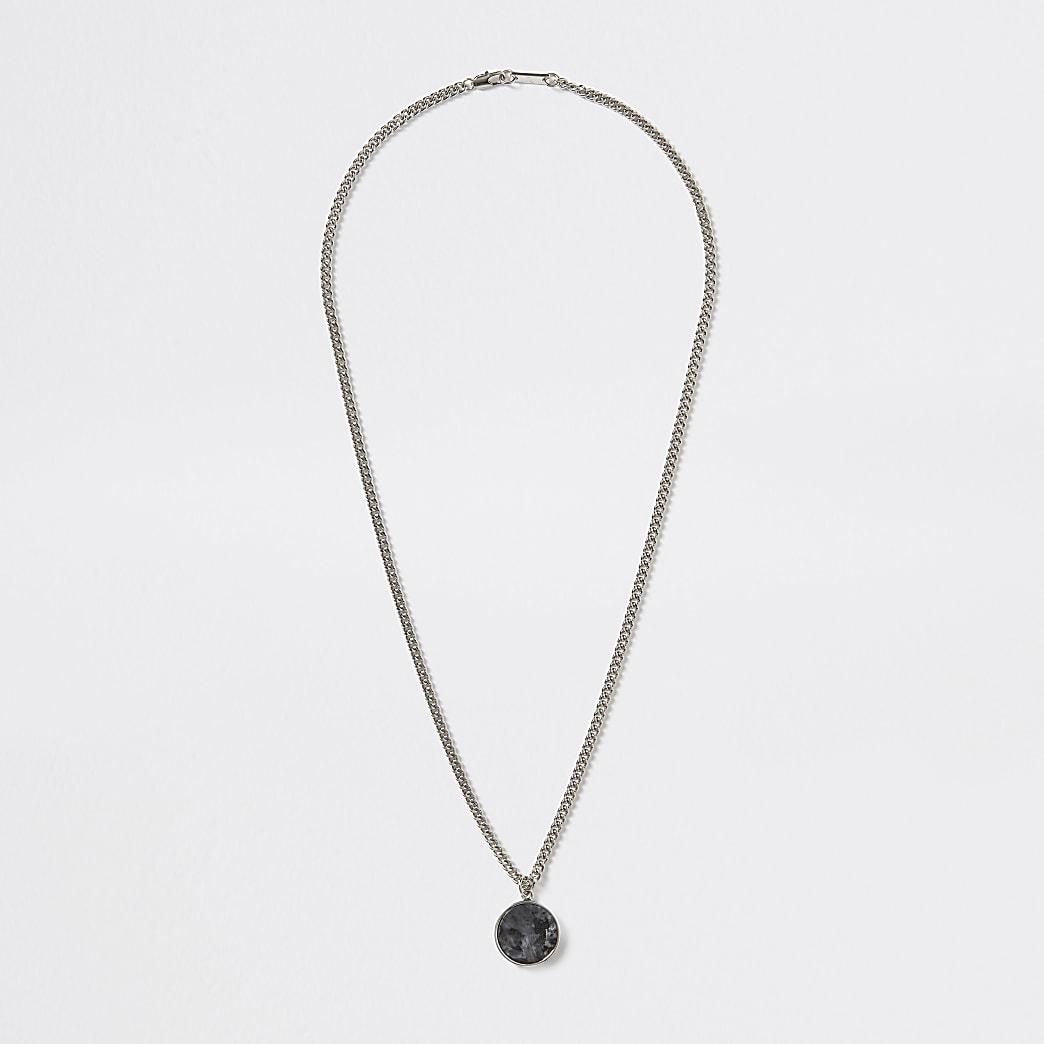 Silver colour stone charm necklace
