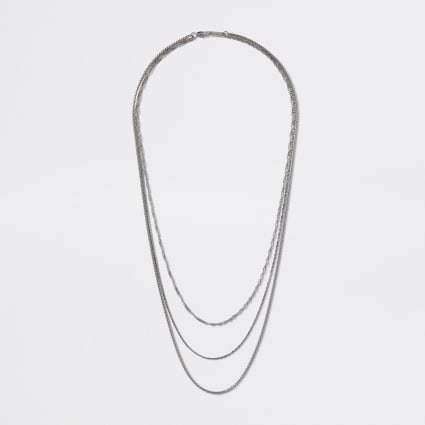 Silver colour chain layered necklace