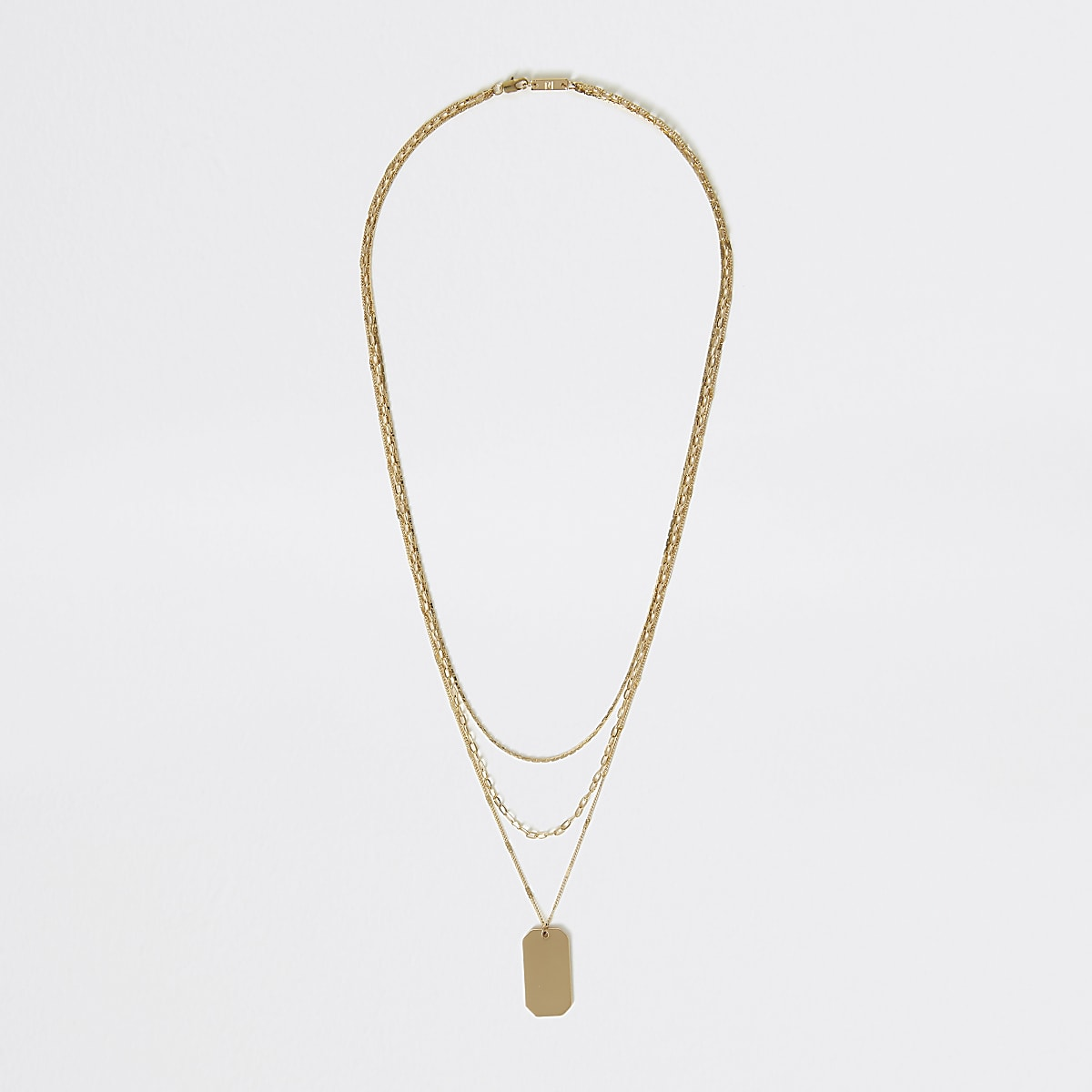 Gold colour dog tag chain layered necklace