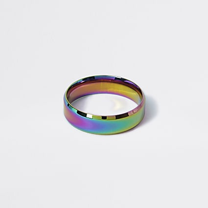 Silver colour oil slick ring