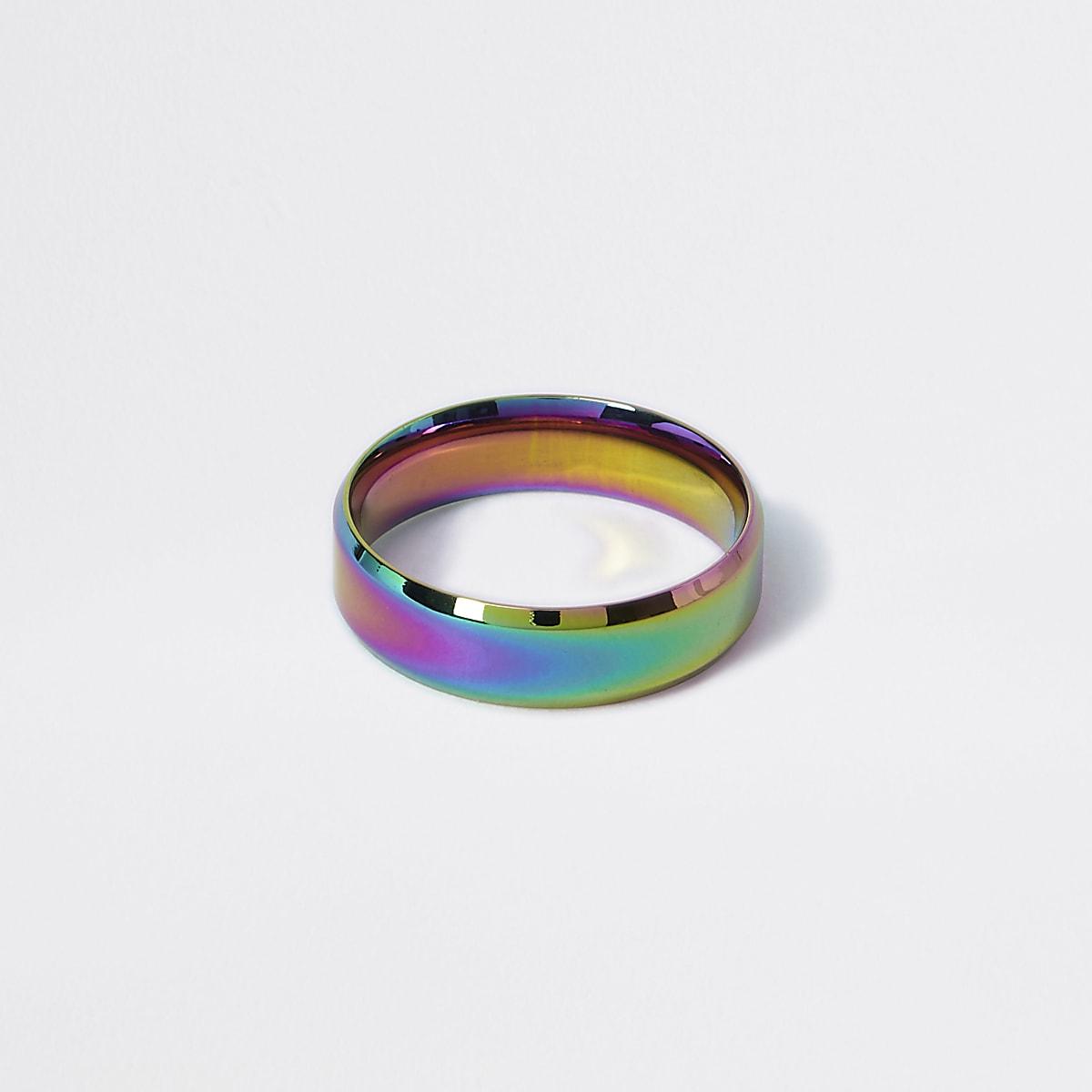 Silver colour oil slick ring