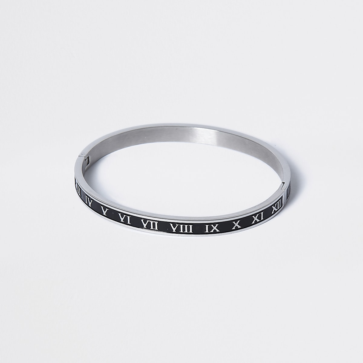 Silver enamel roman numeral bangle