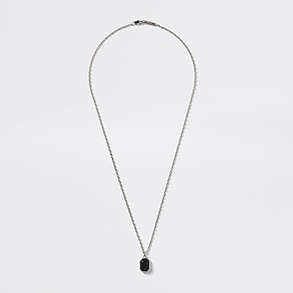 Silver colour jewel pendant necklace