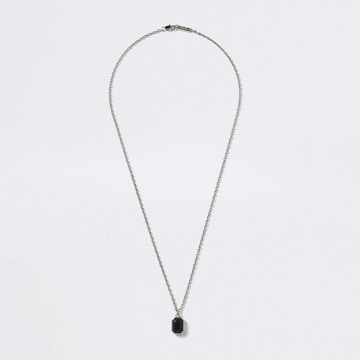 Silver colour jewel pendant necklace