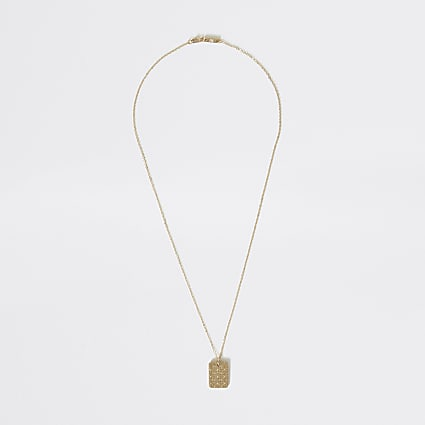 Gold colour textured pendant necklace