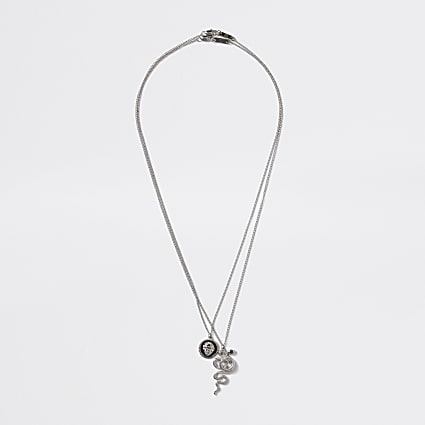 Silver colour snake pendant layered necklace