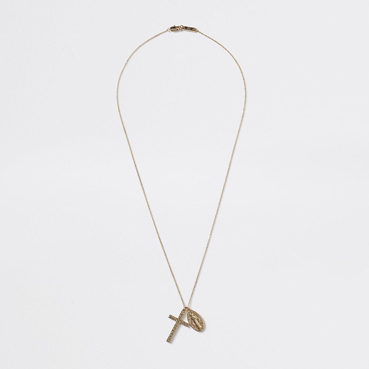 Gold colour cross pendant necklace
