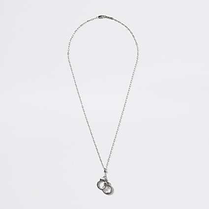 Silver colour handcuff pendant necklace
