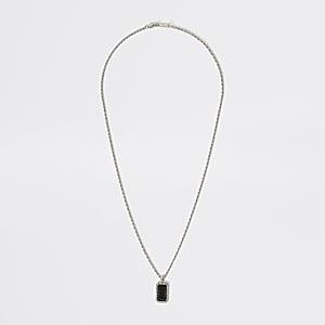 Zilverkleurige ketting met zwarte juweelhanger