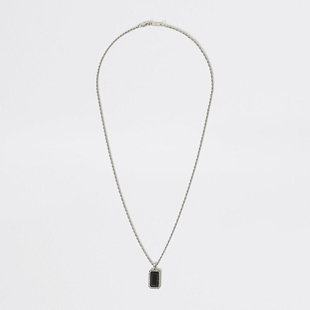 Silver colour black jewel pendant necklace