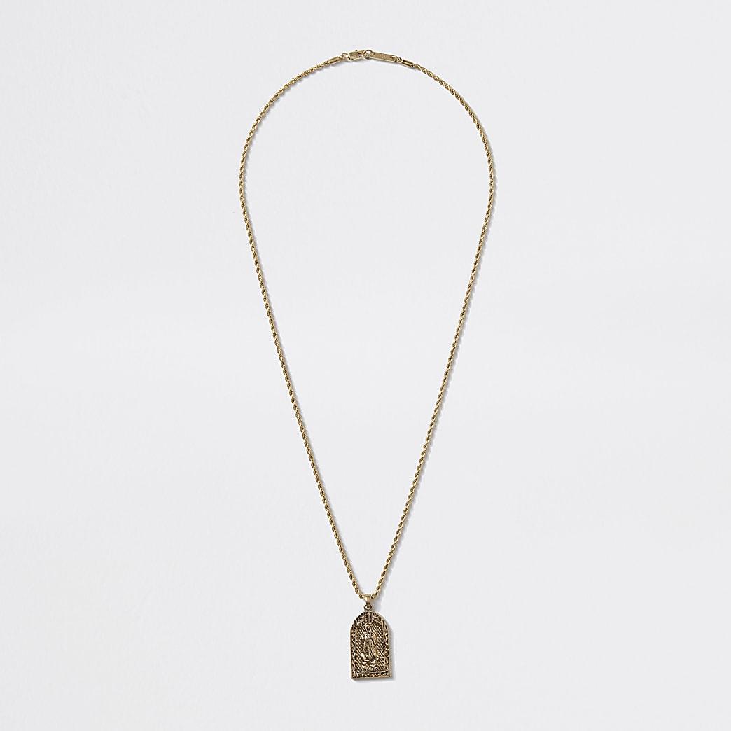 Gold colour religious charm pendant necklace