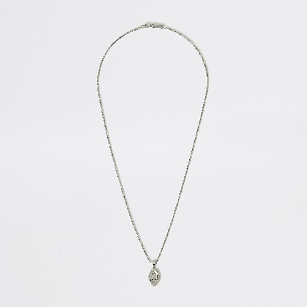 Silver colour religious pendant necklace