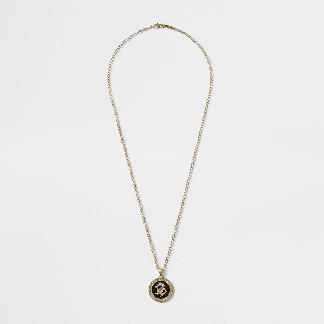 Gold colour dragon pendant necklace
