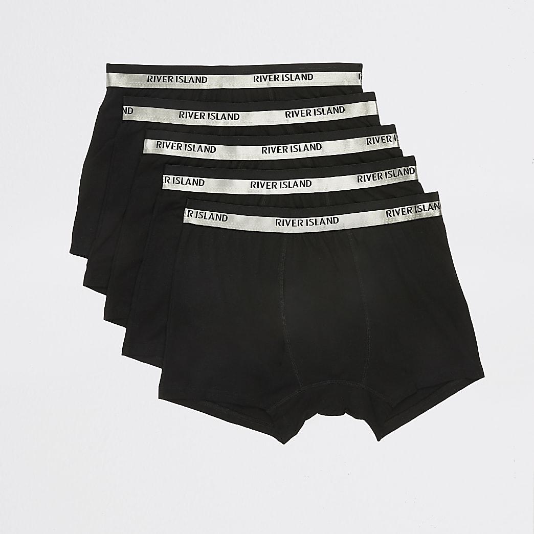 Black RI metallic waistband trunks 5 pack