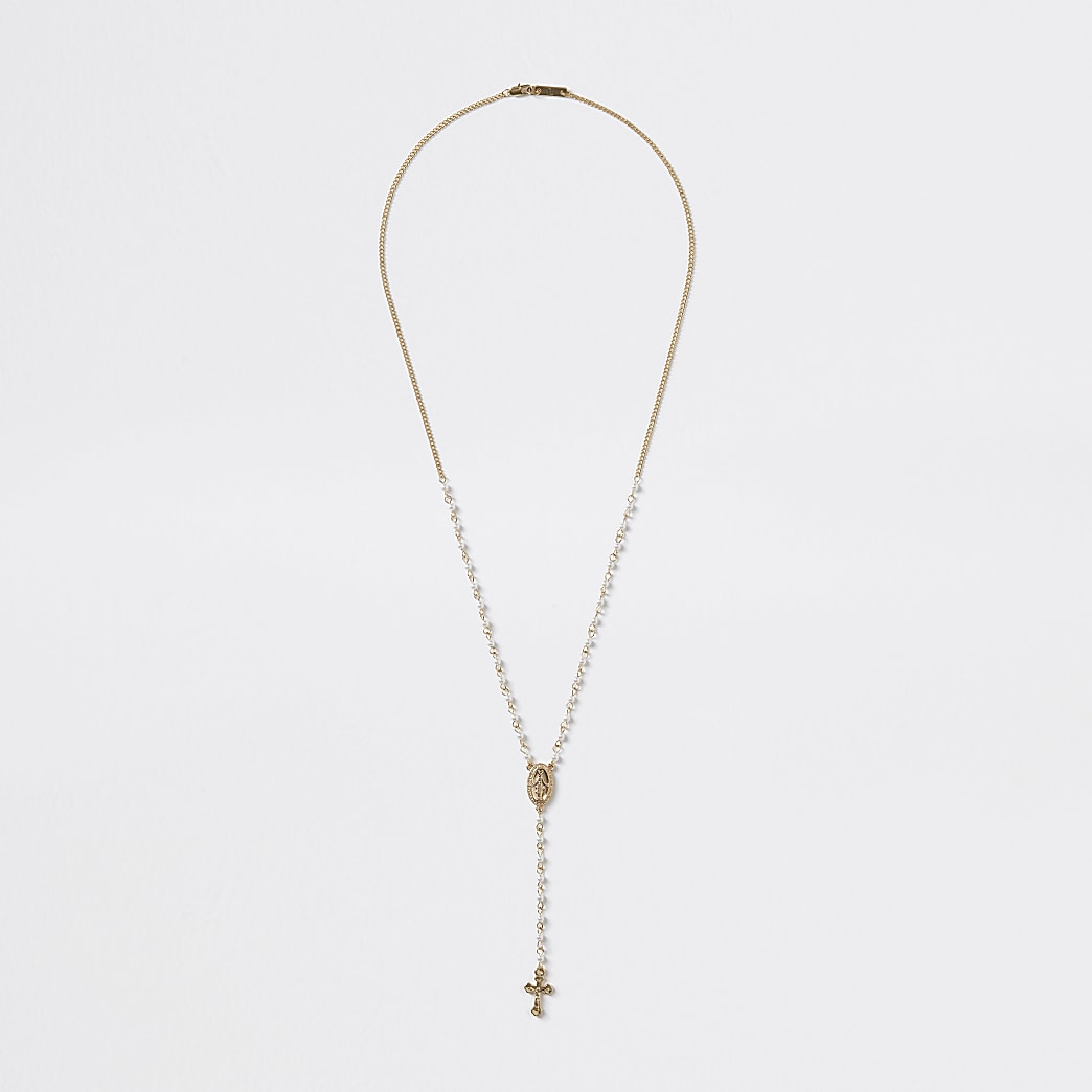 Gold colour pearl rosary necklace