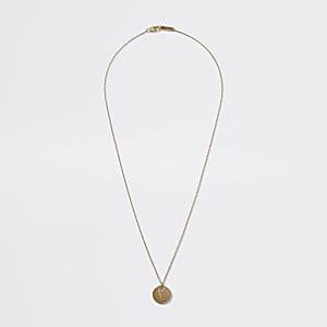 Collier doré avec pendentif pièce de monnaie