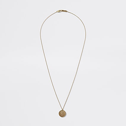 Gold colour coin pendant necklace