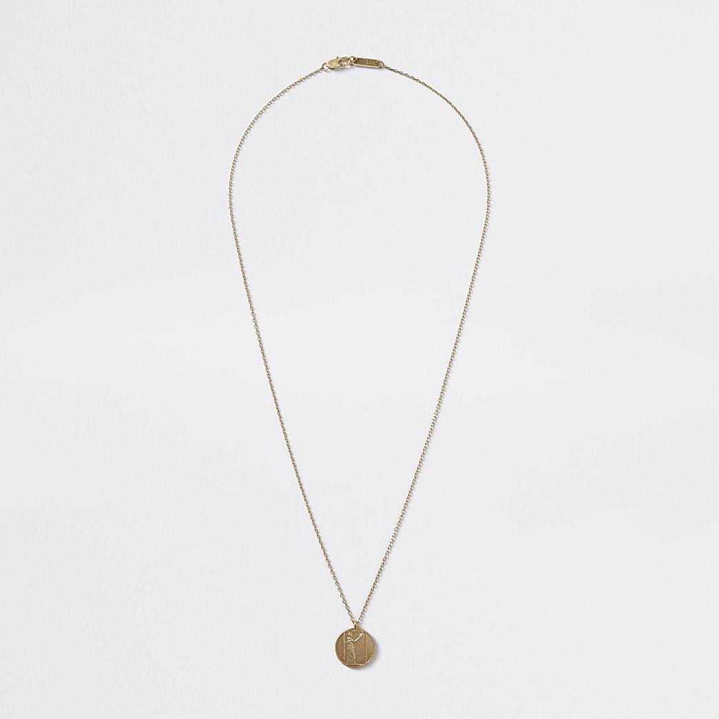 Gold colour coin pendant necklace