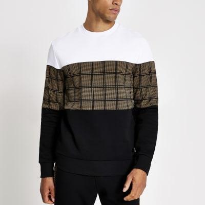 Black Check Colour Blocked Sweatshirt by River Island