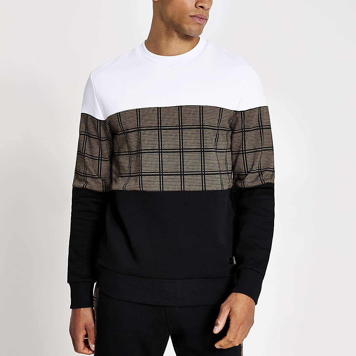 Black check colour blocked sweatshirt