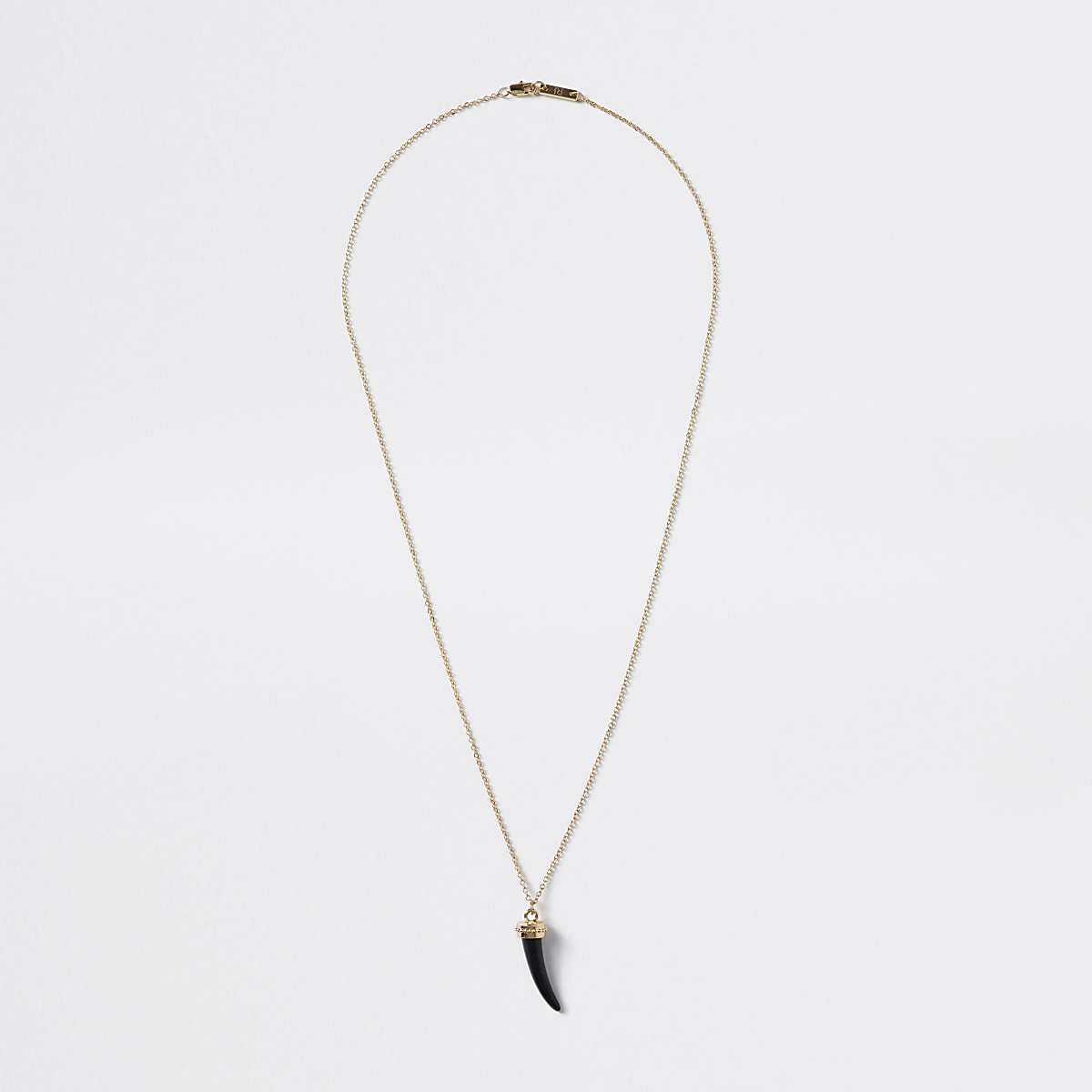 Gold colour black tusk pendant necklace