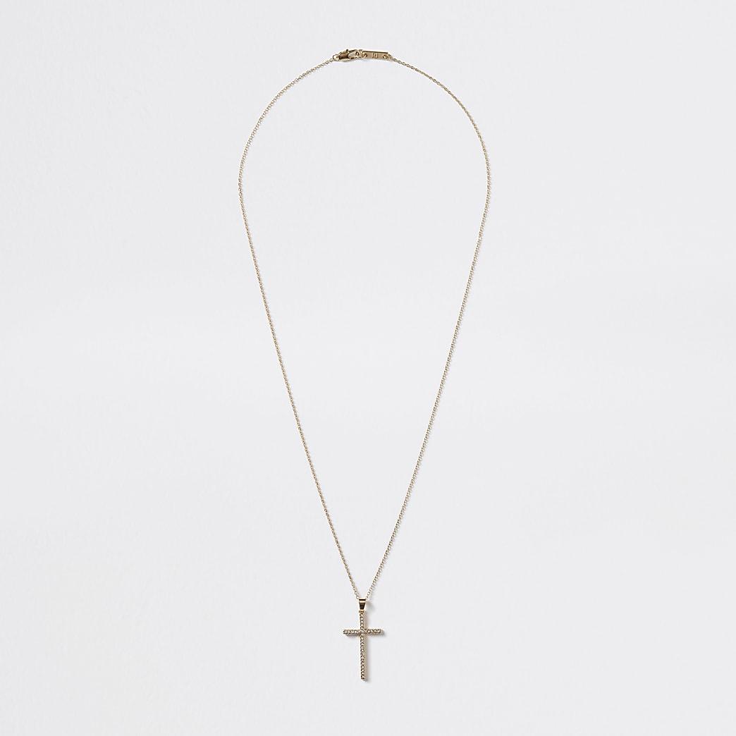 Gold colour diamante cross pendant necklace