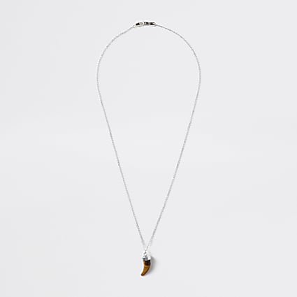 Silver colour tiger eye tusk pendant necklace