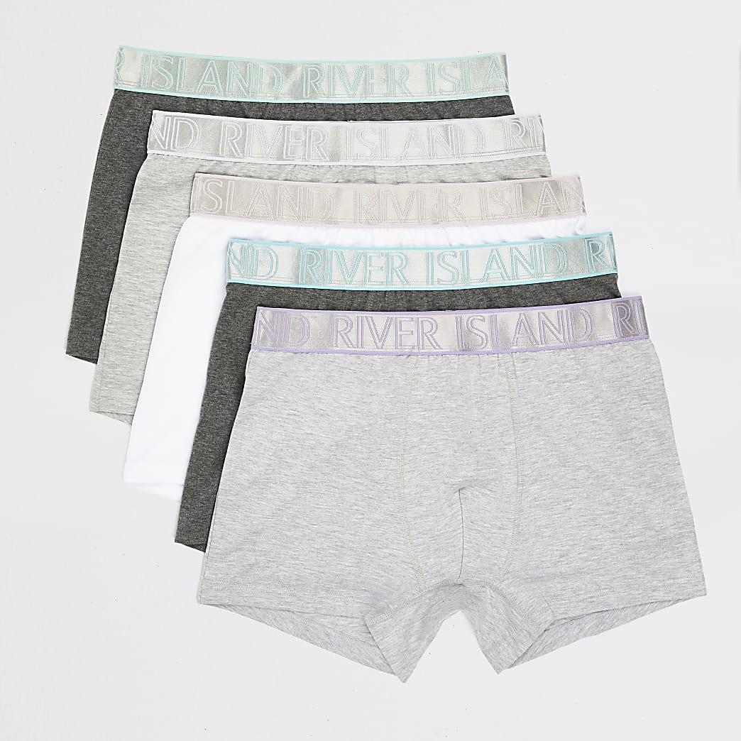Grey RI metallic waist trunks 5 pack