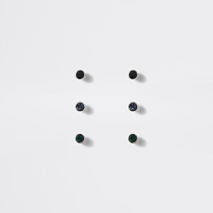 Multicoloured diamante stud earrings 3 pack