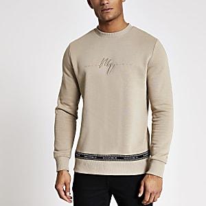 Maison Riviera - Kiezelkleurige sweater met biezen