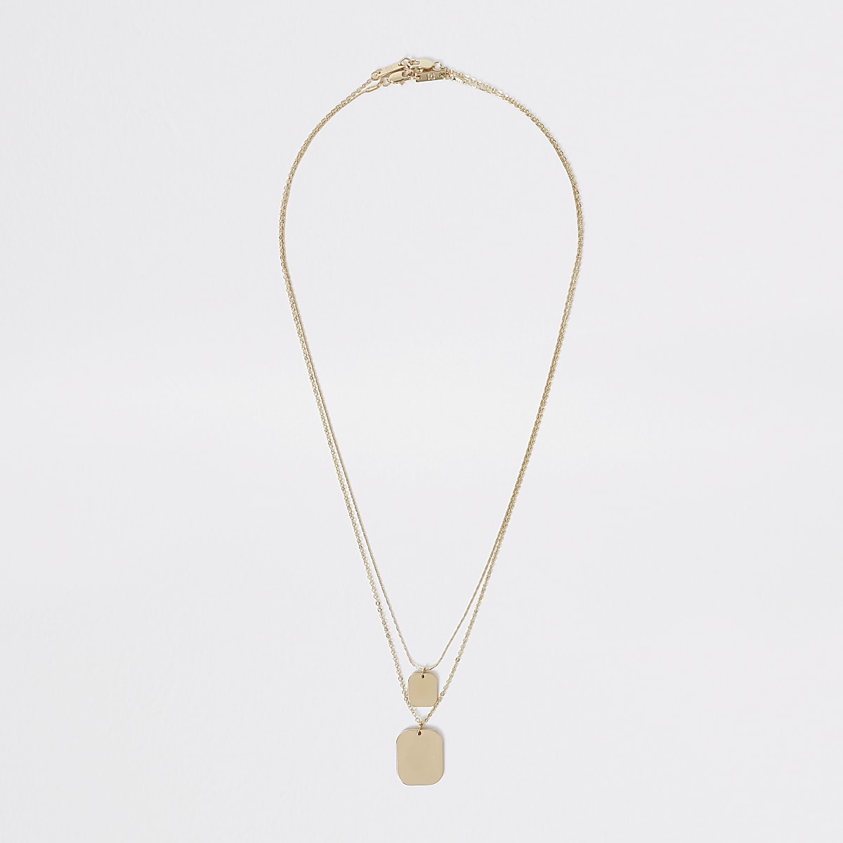 Gold colour layered tag necklace