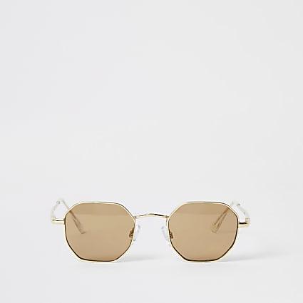 Black hexagon shape sunglasses