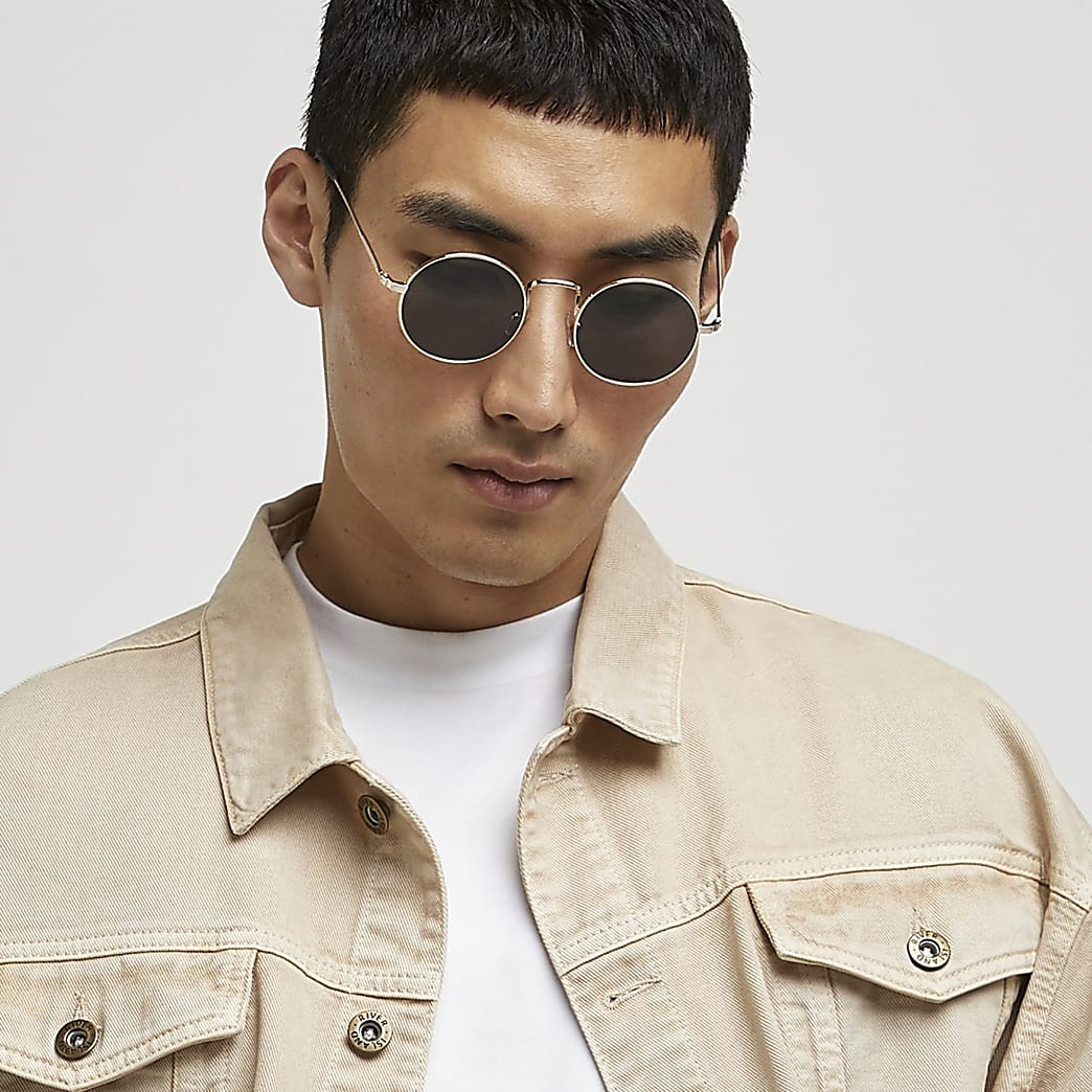 Gold frame round sunglasses
