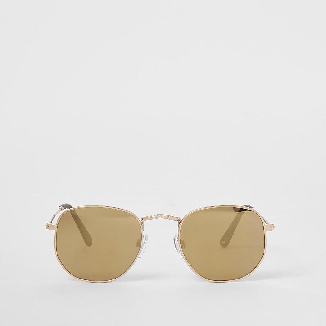 Gold hexagon shape sunglasses