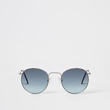 Silver frame blue lens round sunglasses