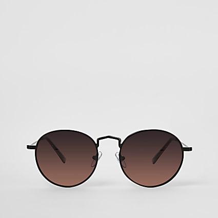 Black round orange lens sunglasses